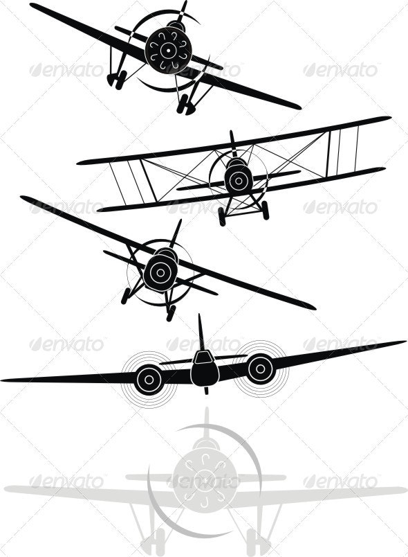 Set of silhouettes of aircrafts - Retro Technology