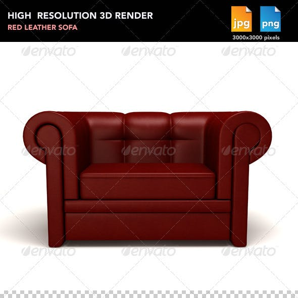 Red Leather Sofa