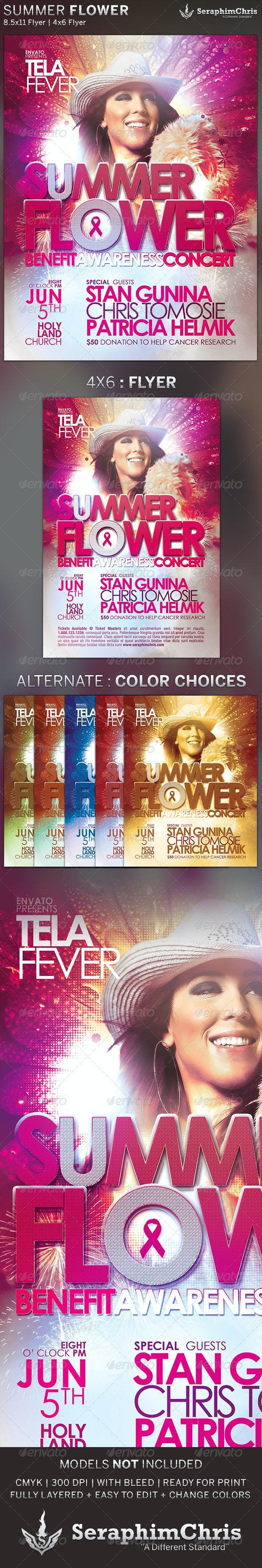 Summer Flower: Church Concert Flyer Template - Concerts Events