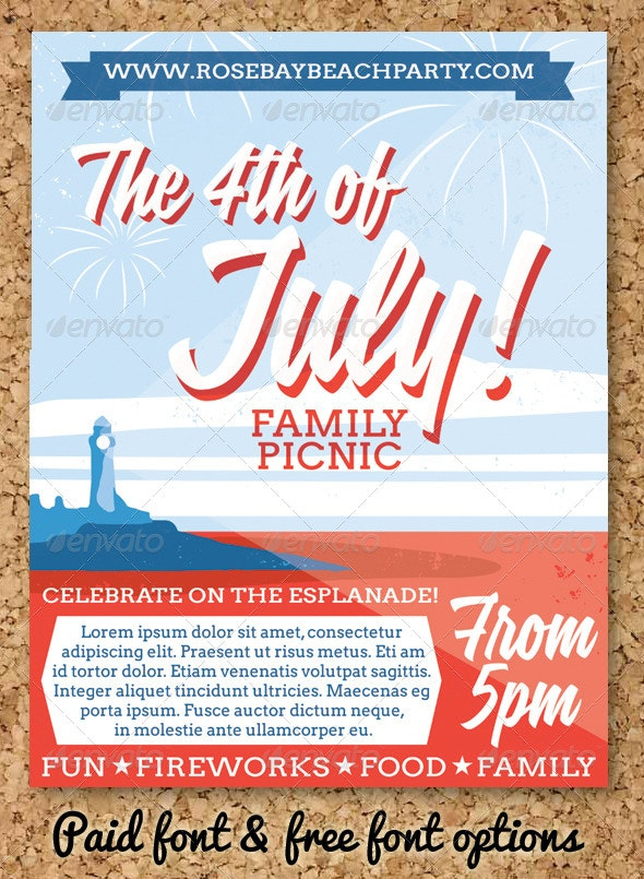 July 4 Event Flyer or Party Invitation - Holidays Events