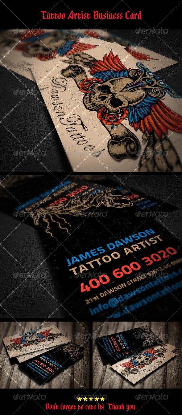 Tattoo Artist Business Card - Industry Specific Business Cards
