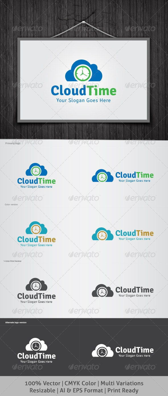 Cloud Time Logo - Objects Logo Templates