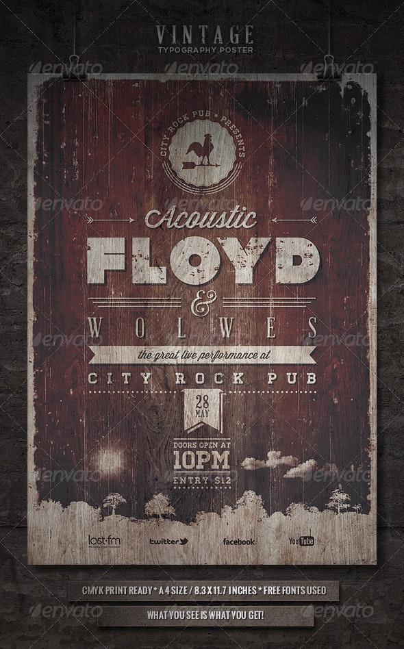 Vintage Typography Poster - IV - Concerts Events