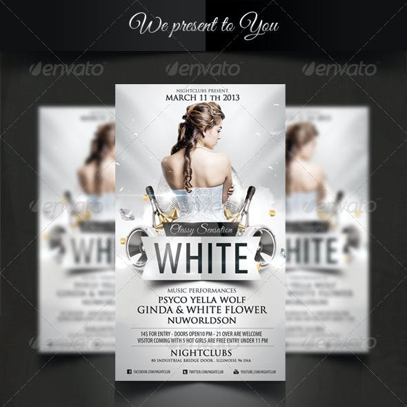 White Classy Sensation Party Flyer Template