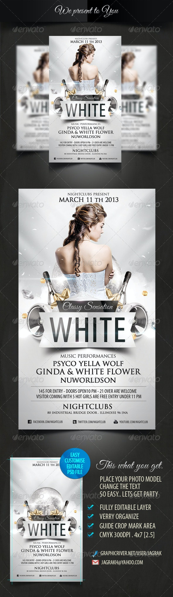 White Classy Sensation Party Flyer Template - Events Flyers