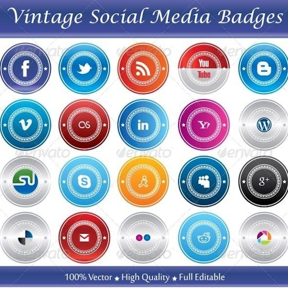 Vintage Social Media Badges