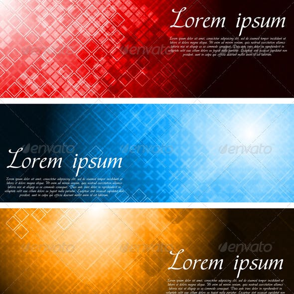 Set of Bright Technology Banners
