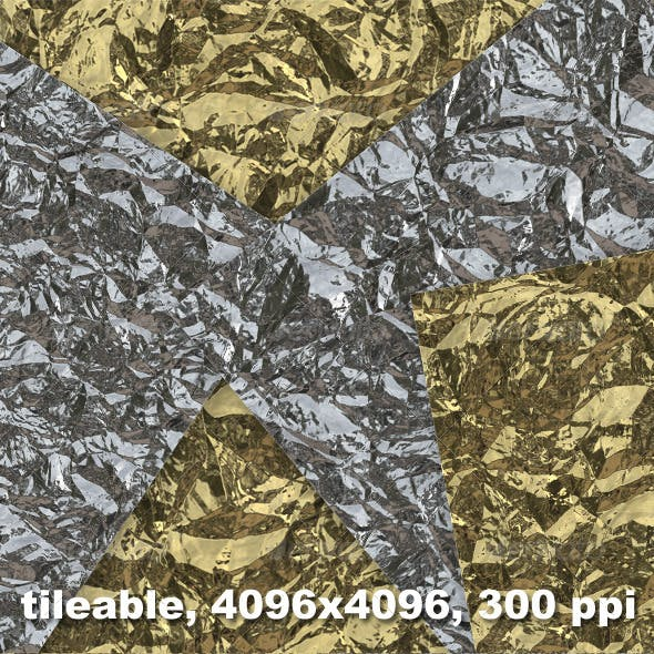 4 Crumpled Tinfoil Textures