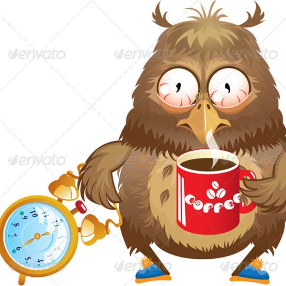 Funny Owl with Cup of Coffee