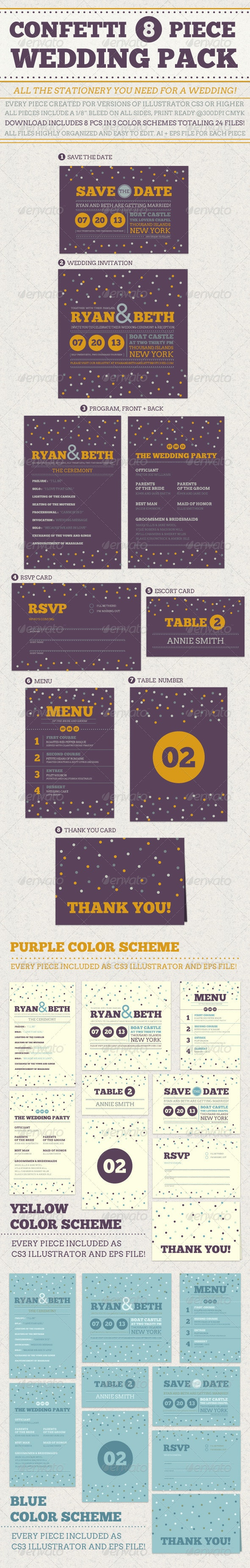 Confetti Wedding Pack - Weddings Cards & Invites