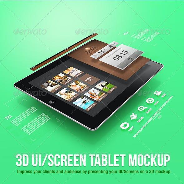3D UI/Screen Tablet Mockup