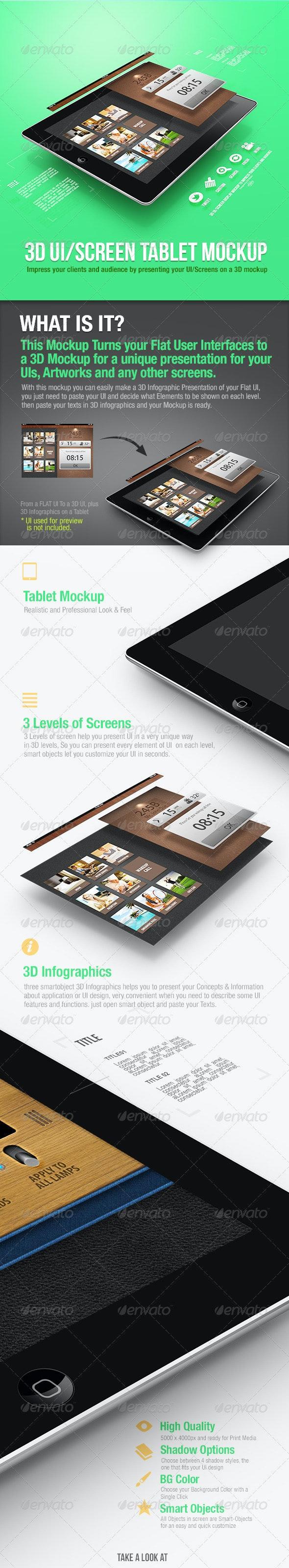 3D UI/Screen Tablet Mockup - Mobile Displays