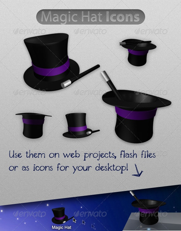 5 Magic Hat Icons - Man-made objects Objects