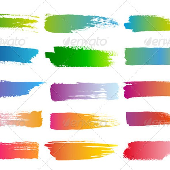 Watercolor Brush Strokes, Vector Set