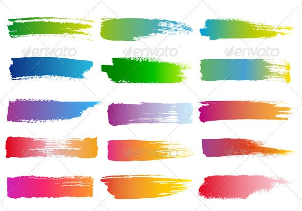 Watercolor Brush Strokes, Vector Set - Backgrounds Decorative