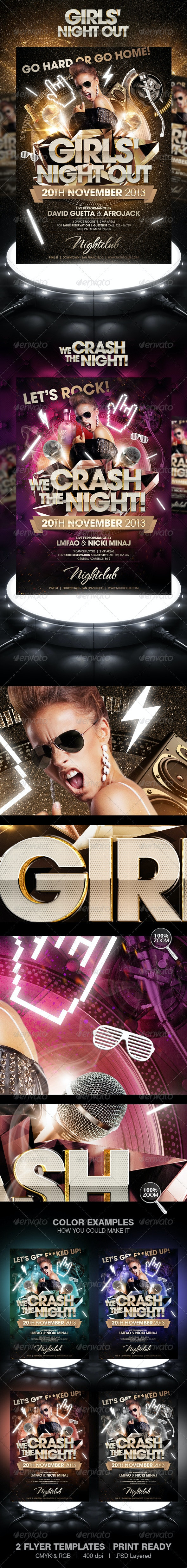 Girls Night Out / We Crash The Night Party Flyer - Clubs & Parties Events
