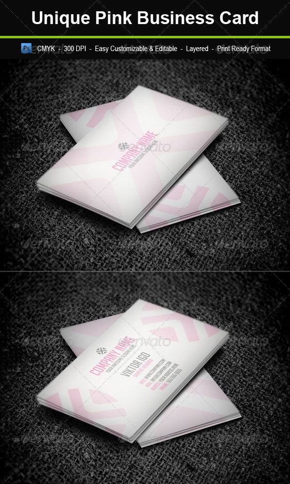 Unique Pink Business Card - Business Cards Print Templates