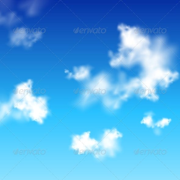 Vector Clear Blue Sky with White Clouds
