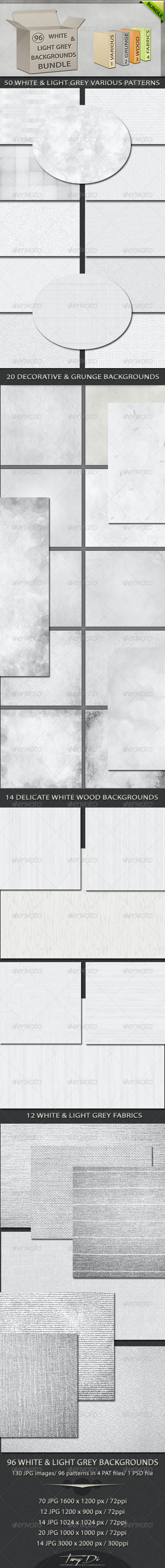 96 White and Light Grey Backgrounds Bundle - Patterns Backgrounds