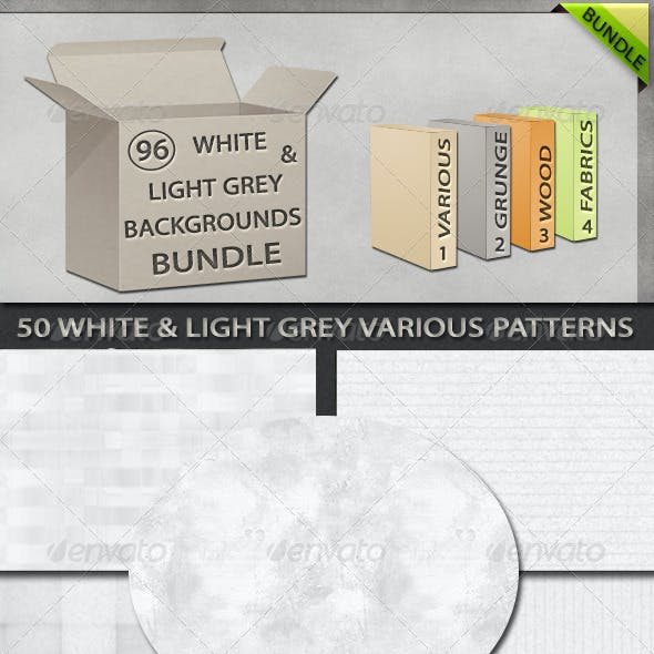 96 White and Light Grey Backgrounds Bundle