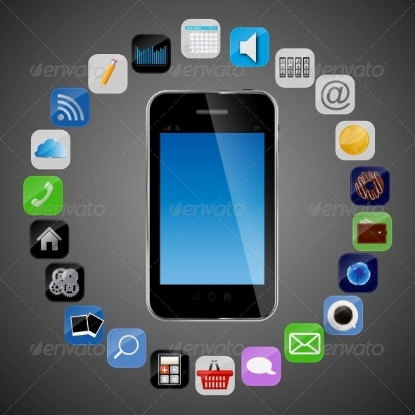 Universal Design Phone with Apps Icons Vector