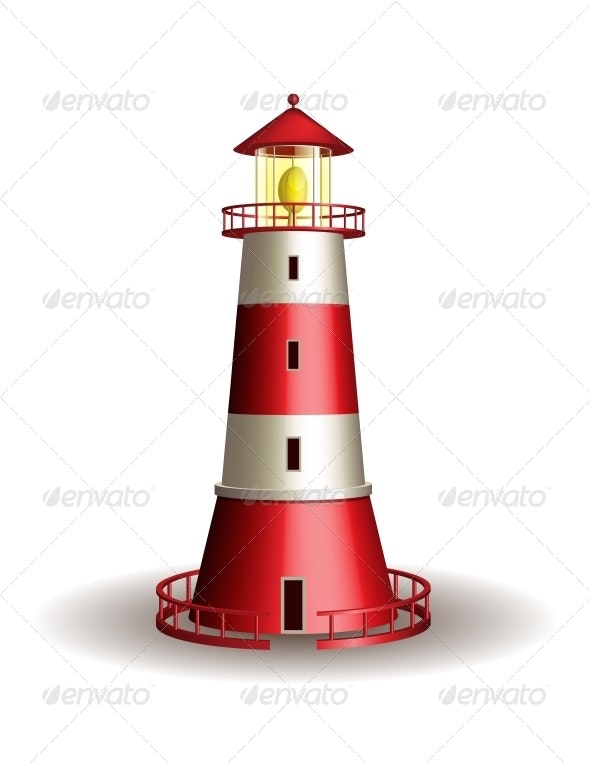 Red Lighthouse Isolated on White Background. - Buildings Objects