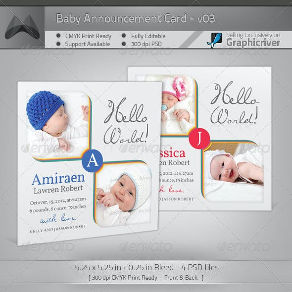 Boy / Girl Baby Announcement Card 03
