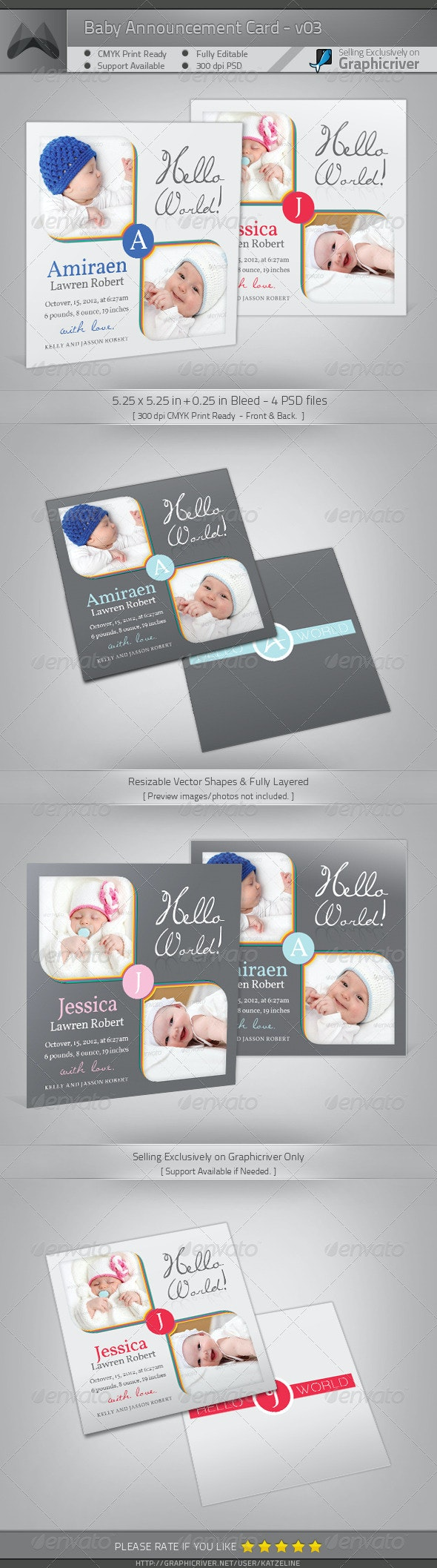 Boy / Girl Baby Announcement Card 03 - Family Cards & Invites