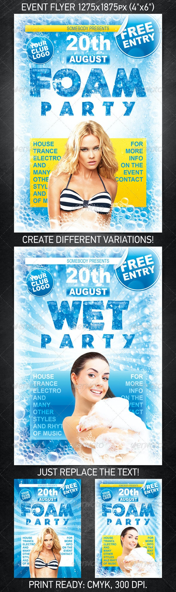 Foam Party Flyer - Clubs & Parties Events