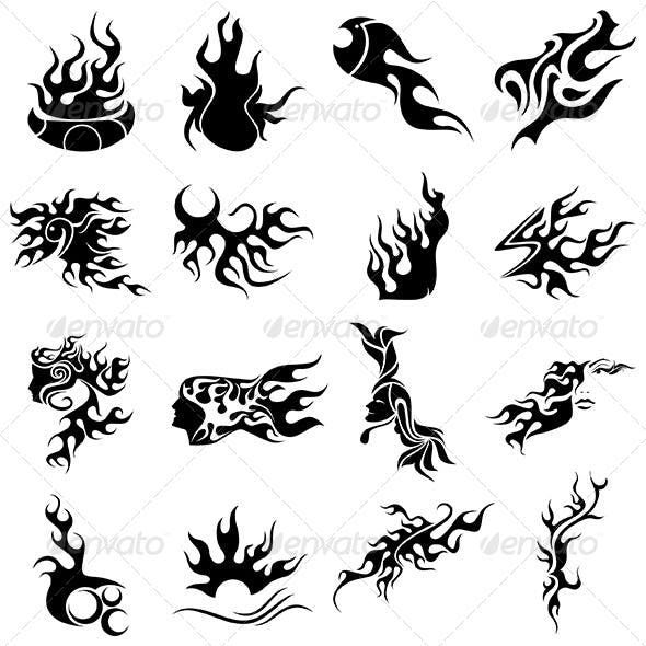 Tribal Fire Tattoo Designs - Vector Pack