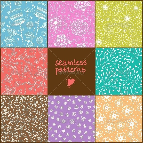 Set of Eight Colorful Floral Patterns  - Patterns Decorative