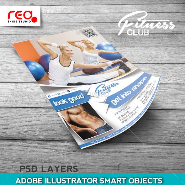 Fitness Club Flyer, Poster & Magzine Cover Design.