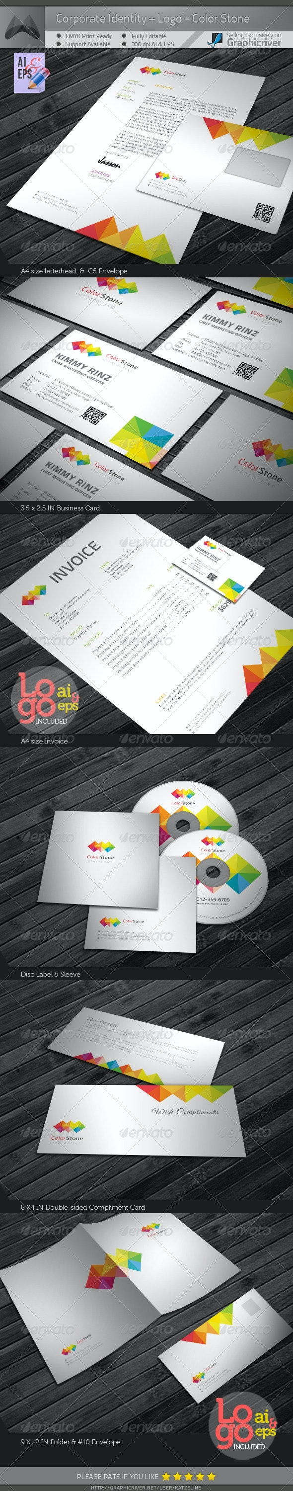 Corporate Identity Package - Color Square - Stationery Print Templates