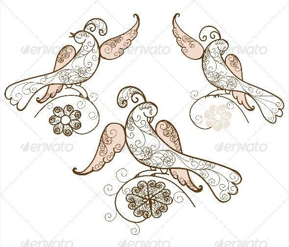 Three Bird Ornament Vector  - Animals Characters