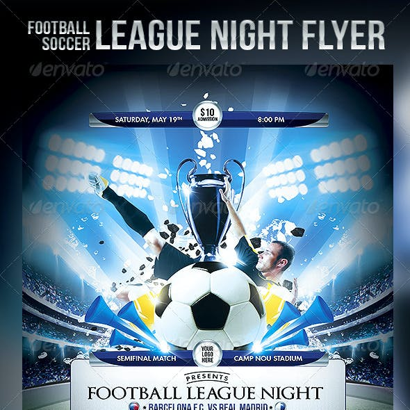 Football Soccer League Night Flyer Template