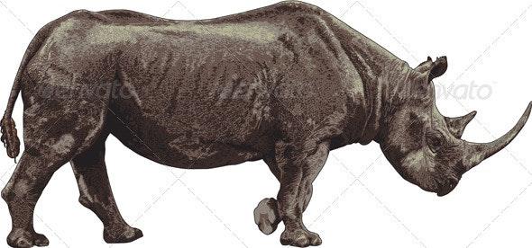 Black rhino - Characters Vectors