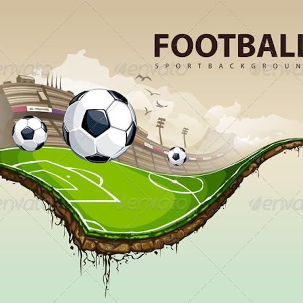 Vector illustration of surreal soccer field