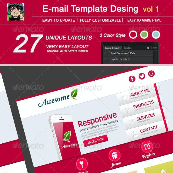 Awesome E-mail Template Design : Vol 1