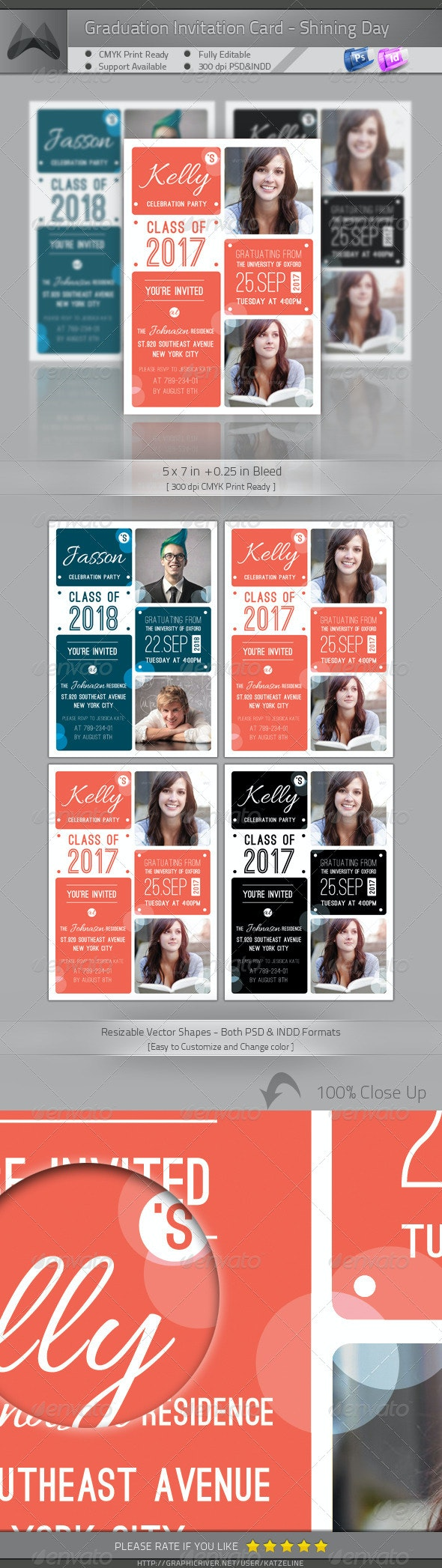 Graduation Announcement - Shining Day - Invitations Cards & Invites