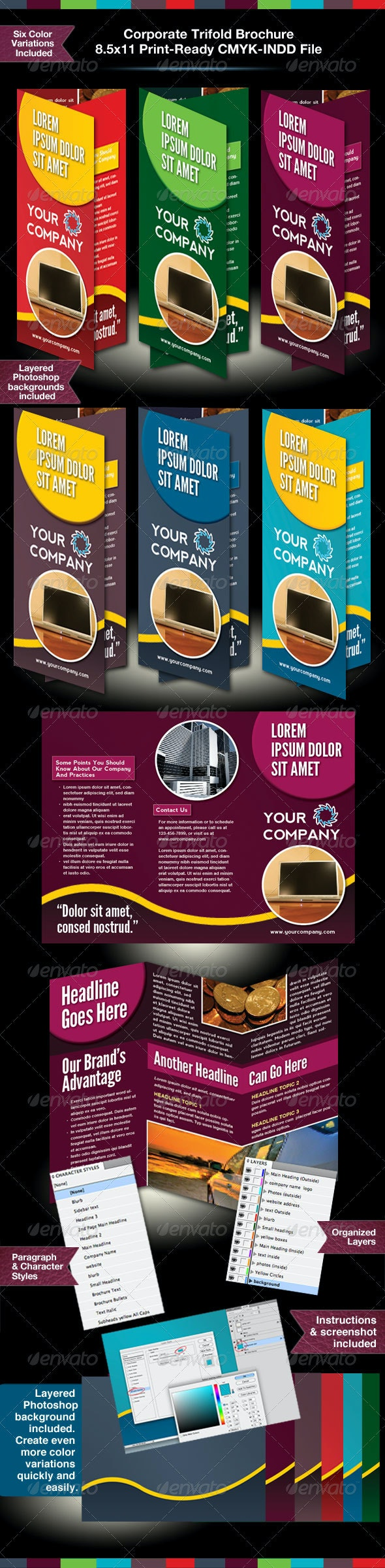 Tri-fold Business Brochure InDesign Template - Corporate Brochures