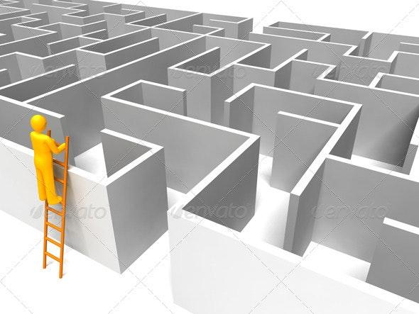 Man on Ladder with Maze