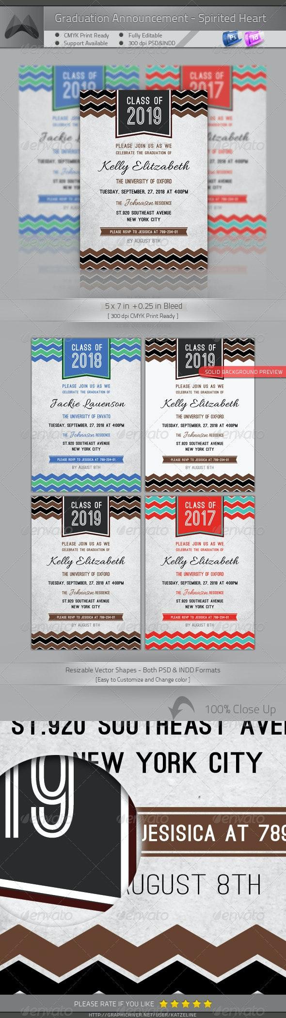 Graduation Announcement - Spirited Heart - Invitations Cards & Invites