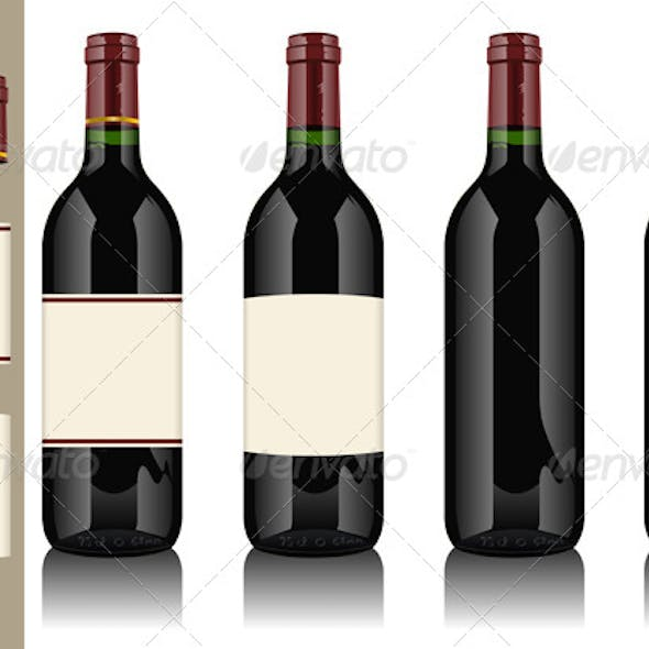 Four Wine Bottles on Withe Background