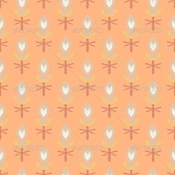 Pattern with Bold Stylized Indian Motifs