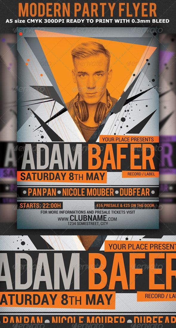 Modern Minimal Party Flyer Template - Clubs & Parties Events