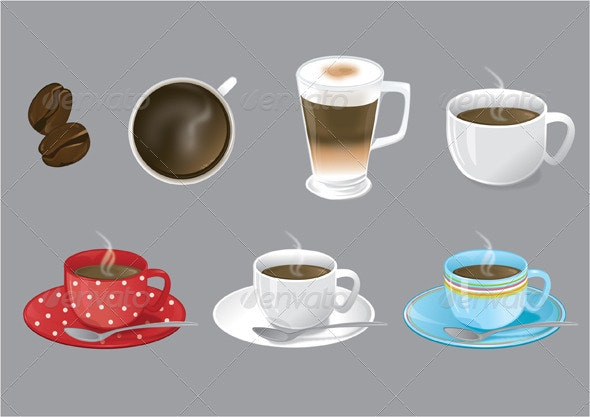 Coffee Themed Vector Illustrations - Food Objects