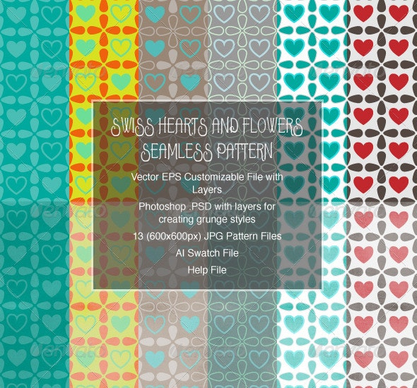 Swiss Hearts and Flowers Seamless Patterns - Patterns Decorative