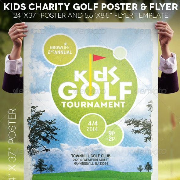 Kids Charity Golf Poster Flyer Template