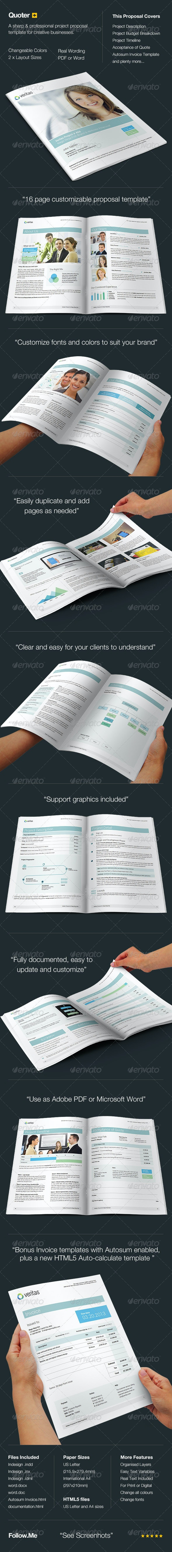 Quoter - Proposal & Invoice Template  - Proposals & Invoices Stationery