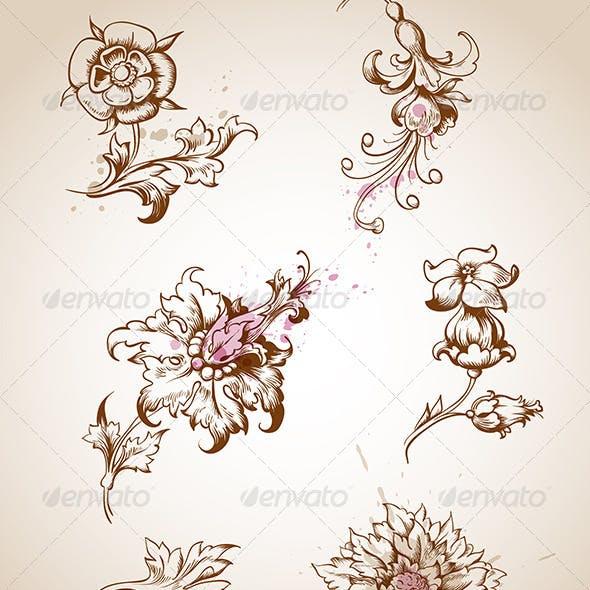 Victorian Floral Design Elements